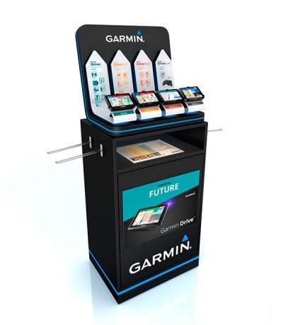 PLV Garmin - Ejemplo de Expositor para cliente del sector Retail