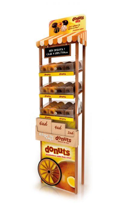 PLV Donuts - Ejemplo de Expositor para cliente del sector de Gran Consumo